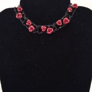 Matte black choker necklace with red roses
